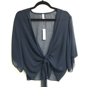 GENTLE FAWN Tie Front Blouse Navy Blue M
